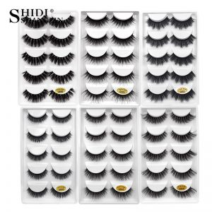 SHIDISHANGPIN 1 box mink eyelashes natural long 3d mink lashes hand made false lashes plastic cotton stalk makeup false eyelash