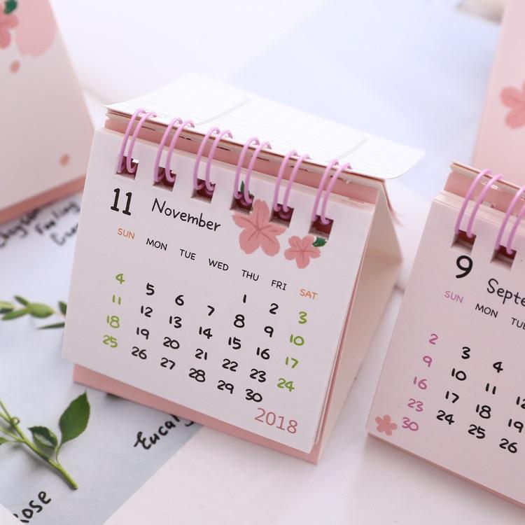 2019 Cute Cherry Blossoms Desk Calendar DIY Mini Portable Table ...