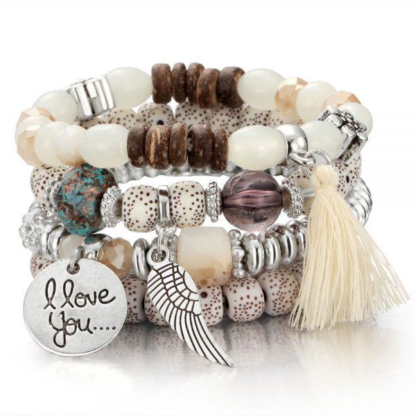 Crystal Bead Bracelets for Women Vintage Bracelet Female Jewelry Tassel Natural Stone Charms Wristband Gift pulseira feminina