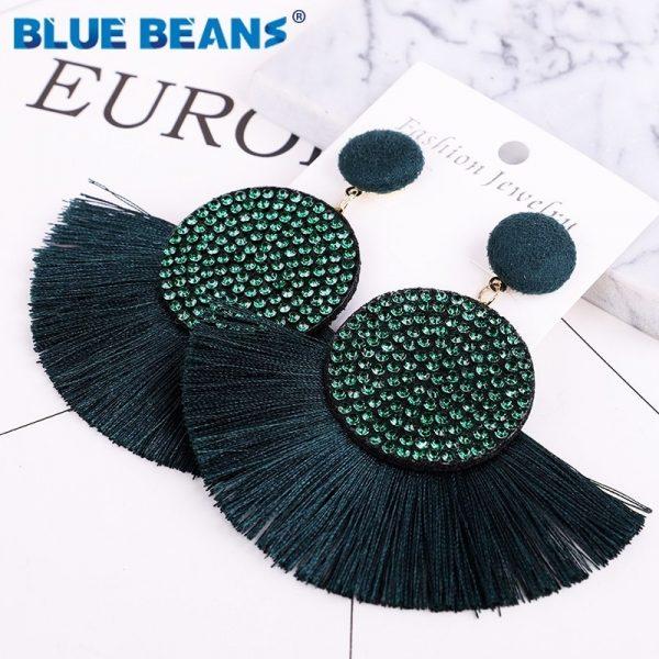 Tassel earrings bohemian statement luxury long earring valentine's day handmade women geometric fringe fashion big rhinestone cc