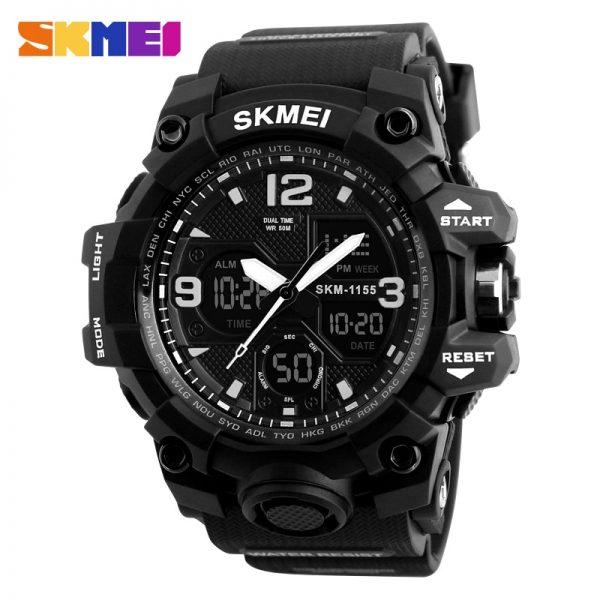 SKMEI New Fashion Men Sports Watches Men Quartz Analog LED Digital Clock Man Military Waterproof Watch Relogio Masculino 1155B