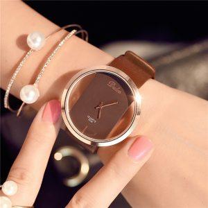 Hot Fashion Women Watch Luxury Leather Skeleton Strap Watch Women Dress Watch Casual Quartz Watch Reloj Mujer Wristwatch Girl