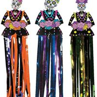 4E's Novelty Day of The Dead Sugar Skull Hanging Decorations (3 Piece Set - Hangs 3 feet) Dia de Los Muertos Party Decorations Supplies, Halloween Decor