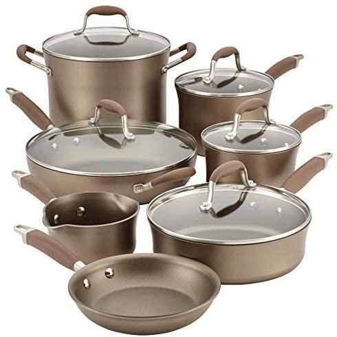 Anolon Advanced Umber Hard Anodized Nonstick Cookware Pots and Pans Set, 12 Piece, Light Brown