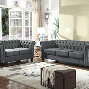 Best Master Furniture Venice 2 Piece Upholstered Sofa Set, Charcoal