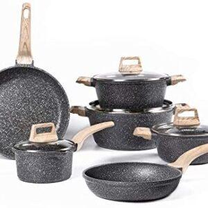 Carote Nonstick Cookware Set,10 Pcs Nonstick Cookware Set Pan and Pot, Essential Woody, Black