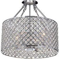 Marya 4-Light Chrome Round Shade Crystal Semi Flush Mount Chandelier Ceiling Fixture, Beaded Drum Shade