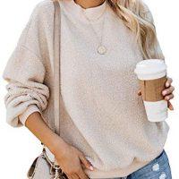 Dokotoo Womens Stable Shade Informal Fleece Fluffy Crewneck Lengthy Sleeve Trend Sweatshirts Tops Pullovers