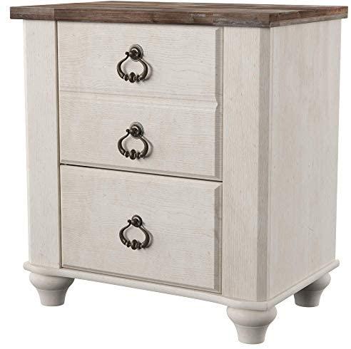 Ashley Furnishings Signature Design – Willowton Nightstand – Rustic Farmhouse Model – White Wash
