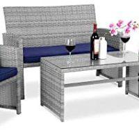 Finest Alternative Merchandise Four-Piece Wicker Patio Dialog Furnishings Set w/ Four Seats, Tempered Glass Tabletop – Grey Wicker/Navy Cushions
