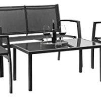 Devoko four Items Patio Furnishings Set Outside Backyard Patio Dialog Units Poolside Garden Chairs with Glass Espresso Desk Porch Furnishings (Black)