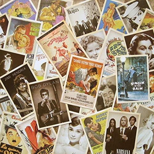 Halloluck 64 Pcs Classic Retro Basic Film Postcards for Price Gathering, Collectable Classic Postcards Bulk Pack, 2 Set