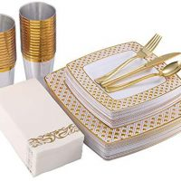 175 Piece Gold Dinnerware Set 25 Visitor-50 Diamond Sq. Plastic Plates-25 Gold Plastic Silverware-25 Gold Plastic Cups-25 Linen Like Gold Paper Napkins, FOCUS LINE Disposable Dinnerware Set