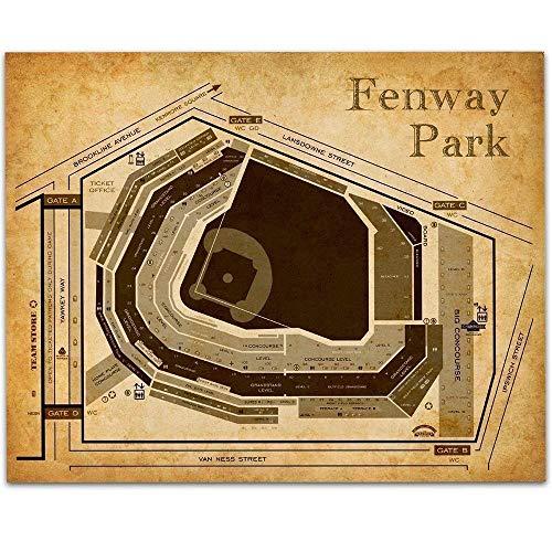 Fenway Park of Boston Baseball Seating Chart – 11×14 Unframed Artwork Print – Nice Sports activities Bar Decor and Present Below $15 for Baseball Followers