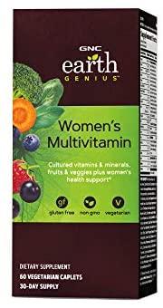GNC Earth Genius Girls's Multivitamin, 60 Vegetarian Caplets, Helps Girls's Diet