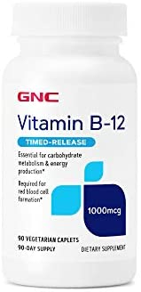 GNC Vitamin B-12 1000mcg, 90 Caplets, Helps Vitality Manufacturing