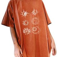 Gemira Outsized Graphic Tshirt Ladies Classic Streetwear Novelty Solar Moon Printed Drop Shoulder Lengthy Tees Tshirts Tunic Tops