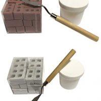 Mini Cement Bricks And Mortar,Mini Supplies Miniature Cinder Blocks,Construct Your Personal Tiny Wall (2x24pcs,Crimson+Grey)