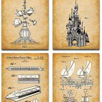 Authentic Disney Rides Patent Artwork Prints – Set of 4 Photographs (8×10) Unframed – Makes a Nice Reward Beneath $20 for Disney Followers