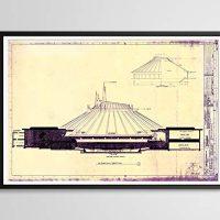 House Mountain Blueprint POSTER! (24″ x 36″ or smaller) – Dated 1975 – Tomorrowland – Disneyland/Disney World – Fan Artwork – Decor – Classic