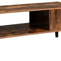 VASAGLE Retro Espresso Desk, Cocktail Desk, Mid-Century Fashionable Accent Desk with Storage Shelf for Residing Room, Reception, Straightforward Meeting, Rustic Brown ULCT09BX
